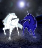 Magical horses at night by 1234LERT7Nan2