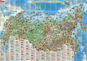 Illustrated map of Russia by MIKHAYLOV