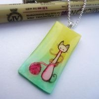 Kitty Yarn Pendant by cellsdividing