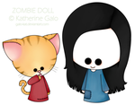 Cat zombie doll and kitsune by Galo-Kat
