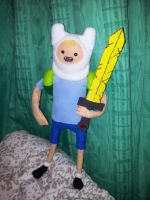 Finn The Human doll finished version with sword 2 by CannibalCupcakes