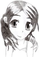 Manga Girl Drawing Black n White by megatiger42