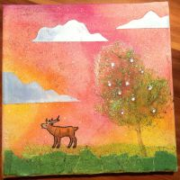 Mixed Media Canvas -oh my deer- by saphiraly