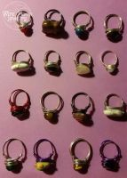 Handmade Simple Wire Wrapped Bead Rings by WireMoonJewelry