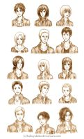 Attack on Titan Character Sketches by hakuyukiko