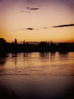 sunset over the river by SsGirlo