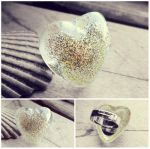 Golden Stardust Heart Handmade Resin Silver Ring by crystaland