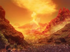 [Premade Background] Volcano On Fire by Rowye
