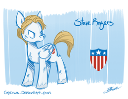 Avengers/MLP Crossover - Steve Rogers by caycowa