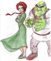 Shrek and princess Fiona by JesusIsMyHomie