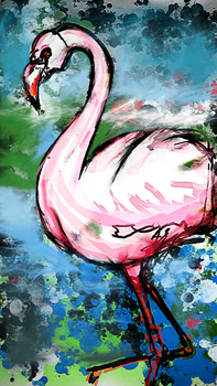 The Watercolor Whimiscal Flamingo by Azari13