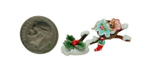 CHRISTMAS MOUSE TREE BED HOLLY BERRY STOCKING by WEE-OOAK-MINIATURES