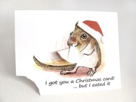 Christmas Gerbil Greeting Card by sobeyondthis