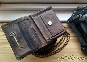 Steampunk Brown Leather Wallet with steampunk deta by Gothianna