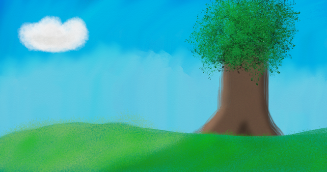 Lone Tree in a Grassy Place by Alyelectricblue