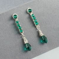 Sterling and Emerald Crystal Earrings by sylva
