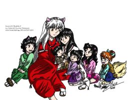 Inu Yasha And Kagome's Family by WildLittleTiggy