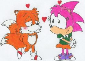 Tails and Amy Fall in Love by nintendomaximus