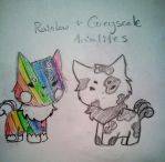 Rainbow and Grey scale Arualite (closed) by glaceon215