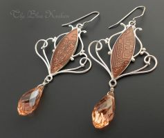 Peachy Circuit Earrings by thebluekraken