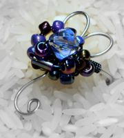 Blue crystal flower ring by buttercreamfantasies