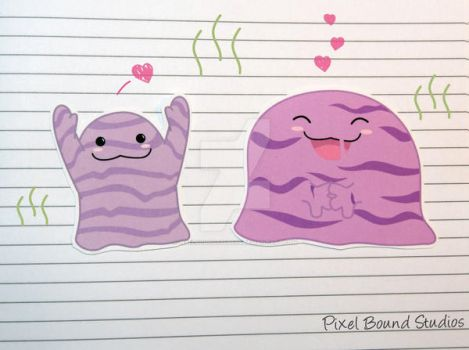 Grimer/Muk Stickers and Magnets by pixelboundstudios