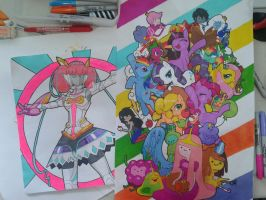 Gatchaman Crowds, Little Pony y Adventure time by AzZzAeLL
