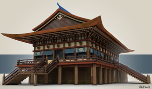 Japanese Temple-style Building 3D Model by RasheruSuzie