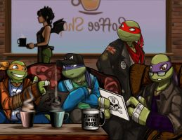 The RP Gang of TMNT2012 in Chatwing Cafe by JasmineAlexandra