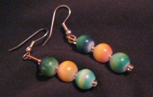 green and yellow earrings by Galasdian