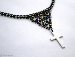 Beaded White Cross Choker by Emoeba