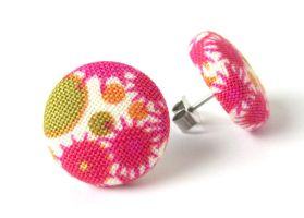 Stud earrings button pink white green bright happy by KooKooCraft