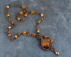Tiger's Eye wire wrapped necklace - ooak by IanirasArtifacts