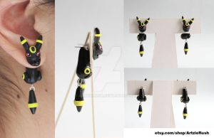 Umbreon Eeveelution Earrings by ArtzieRush