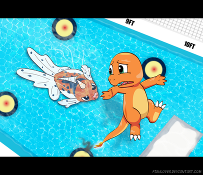 Charmander vs. Seaking by Fishlover