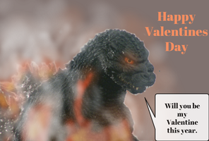 Burning Godzilla Valentines day card by TheSpiderAdventurer