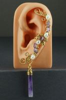 Amethyst and White Pearls Gold Ear Cuff - View 2 by Gailavira