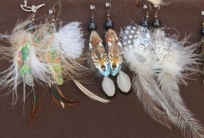 Moar Earrings with Painted Feathers by 00BlacKBerrY00