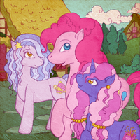 Pinkie Pie with her daughter Millie and Berlingot by tinuleaf