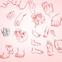 Sketches- feet and hands by Fyuvix