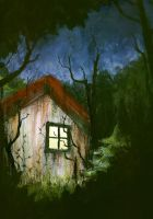 In that tiny kinda scary house by Caraya