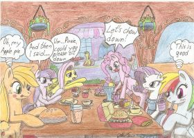 Hanging out in a famiresu by Stardustchild01