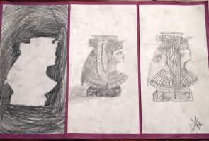 Egyptian Queen Triptych by naladraws