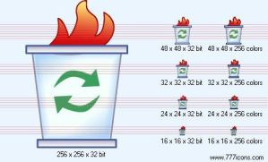 Burning trash can Icon by security-icon-set