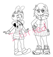 WIP - Ryuko the Hedgehog and Mako Bee by DuckyDeathly