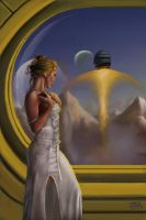 Woman watching spaceship takeo by mdjackson