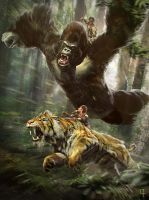 Gorilla vs Tiger 2 by OmenD4