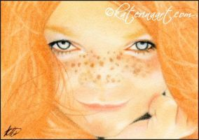 Irish Freckles ACEO by Katerina-Art