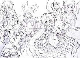 Sketch19: Vocaloids All Stars by qrullgx13