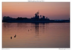 USS New Jersey at Sunrise Ver by yellowcaseartist
